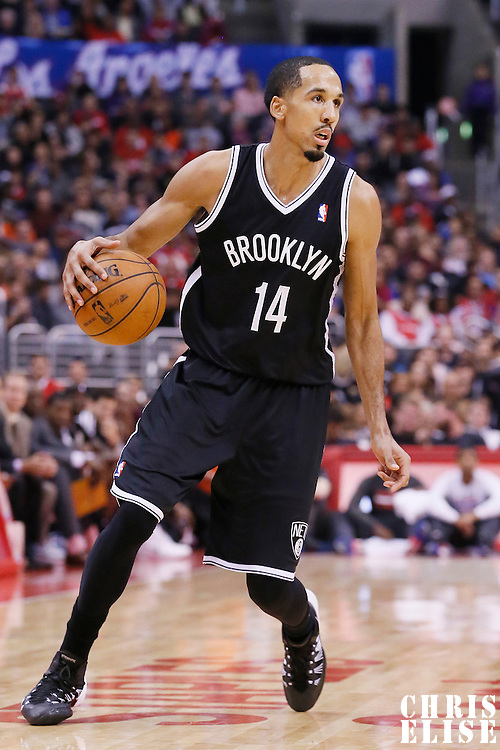 16 November 2013: Brooklyn Nets point guard Shaun Livingston (14) dribbles during the Los Angeles Clippers 110-103 victory over the Brooklyn Nets at the Staples Center, Los Angeles, California, USA.