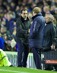 LIVERPOOL, ENGLAND - Saturday, January 4, 2014: Everton's manager Roberto Martinez shakes hands with Queens Park Rangers' manager Harry Redknapp after the 4-0 victory during the FA Cup 3rd Round match at Goodison Park. (Pic by David Rawcliffe/Propaganda)