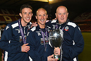 Bolton's coaching staff Jack Fahey, David Lee and Tony Kelly with the Champions trophy during the U23 Professional Development League Play-Off Final match between Nottingham Forest and Bolton Wanderers at the City Ground, Nottingham, England on 4 May 2018. Picture by Jon Hobley.