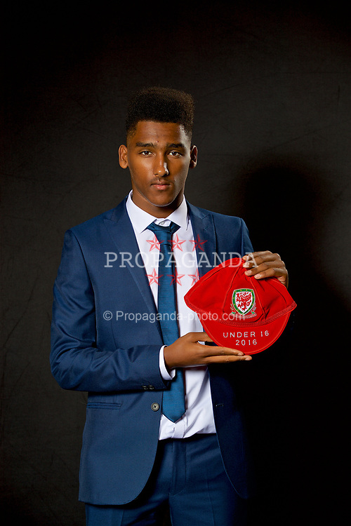 NEWPORT, WALES - Saturday, May 27, 2017: Michael Ellery with his Under-16 Wales cap at the Celtic Manor Resort. (Pic by David Rawcliffe/Propaganda)