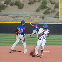 Laguna Acoma Hawk William Small (22) rounds second base during the game against McCurdy in Laguna Wednesday.