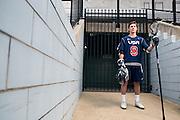 April 28, 2016; Baltimore, MD, USA; Johns Hopkins Blue Jays and U-19 Team USA defender Patrick Foley poses for a portrait at Historic Homewood Field on campus in Baltimore, MD.<br /> <br /> Credit:<br /> Brian Schneider-www.ebrianschneider.com<br /> Instagram - @ebrianschneider<br /> Twitter - @brian_schneider<br /> Facebook - @ebrianschneider