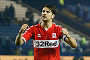 Middlesbrough defender George Friend (3) applauds the fans at full time during the EFL Sky Bet Championship match between Sheffield Wednesday and Middlesbrough at Hillsborough, Sheffield, England on 19 October 2018.