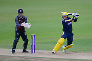 Liam Dawson of Hampshire batting and Ryan Davies of Somerset during the Royal London One Day Cup match between Hampshire County Cricket Club and Somerset County Cricket Club at the Ageas Bowl, Southampton, United Kingdom on 2 August 2016. Photo by David Vokes.