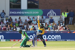 June 28, 2019 - Chester Le Street, County Durham, United Kingdom - Sri Lanka's Kusal Perera appeals for an LBW against South Africa's Hashim Amla during the ICC Cricket World Cup 2019 match between Sri Lanka and South Africa at Emirates Riverside, Chester le Street on Friday 28th June 2019. (Credit Image: © Mi News/NurPhoto via ZUMA Press)