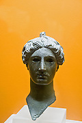 Greece, Athens, The Greek Agora museum in the Stoa of Attalos. Bronze head of Nike (victory) 420 BCE