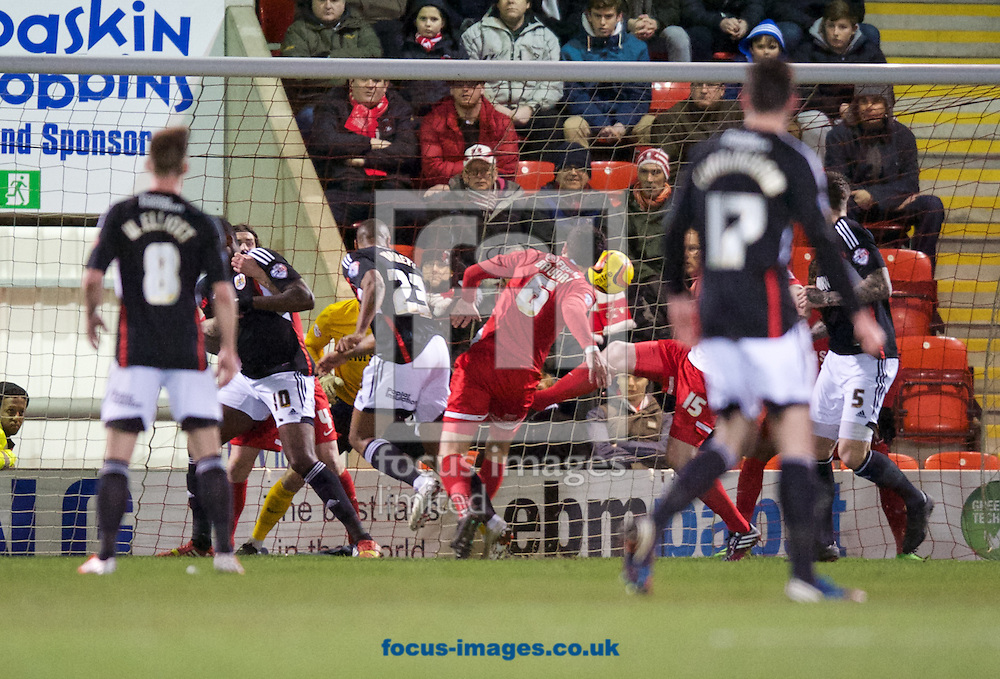 Tyrone Barnett (23) of Bristol City scores to make it 0-2 during the Sky Bet League 1 match at the Matchroom Stadium, London<br /> Picture by Alan Stanford/Focus Images Ltd +44 7915 056117<br /> 11/02/2014