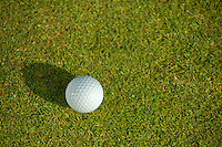 Elevated view of golf ball on grass