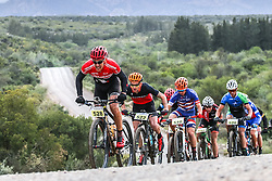 The elite men's field climbing towards the Seweweekspoort during the Ladismith Cheese 7Weekspoort MTB Challenge, on the 1st October 2016<br /> <br /> Photo by:    /Oakpics/ SPORTZPICS<br /> <br /> <br /> {dem16gst}