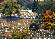View of the ARlington National Cemetery during a funeral procession