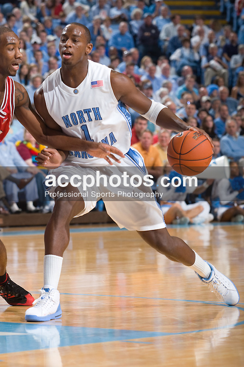 12 January 2008: North Carolina Tar Heels guard Marcus Ginyard (1) during a 62-93 win over the North Carolina State Wolfpack at the Dean Smith Center in Chapel Hill, NC.