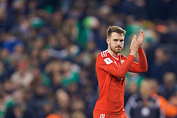 DUBLIN, REPUBLIC OF IRELAND - Friday, March 24, 2017: Wales' Aaron Ramsey applauds the supporters after the goal-less draw with Republic of Ireland during the 2018 FIFA World Cup Qualifying Group D match at the Aviva Stadium. (Pic by David Rawcliffe/Propaganda)