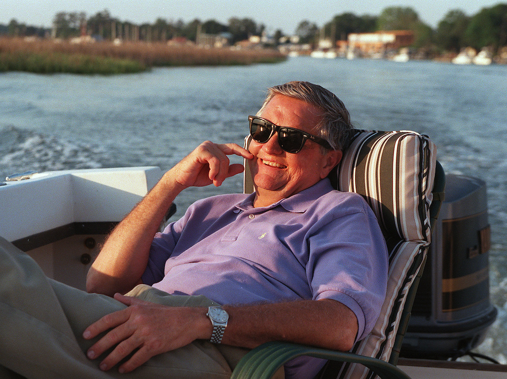 Portrait of Savannah native & author of Delirium of the Brave, Dr. William C Harris Jr, on his boat cruising his home town.