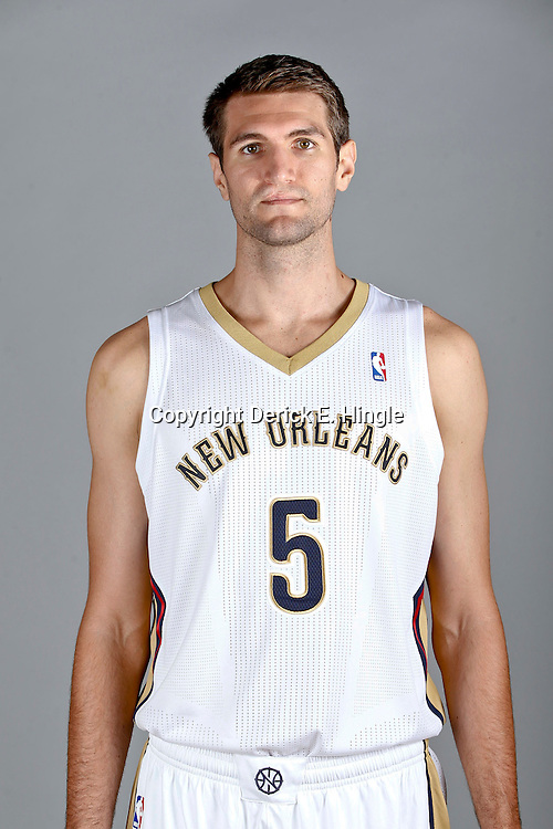 Sep 30, 2013; Metairie, LA, USA; New Orleans Pelicans center Jeff Withey (5) poses for a portrait at Pelicans Practice Facility. Mandatory Credit: Derick E. Hingle-USA TODAY Sports