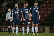 Jack Payne (Southend United), Will Atkinson (Southend United) and Anthony Wordsworth (Southend United) line up in a wall during the Sky Bet League 1 match between Bradford City and Southend United at the Coral Windows Stadium, Bradford, England on 16 February 2016. Photo by Mark P Doherty.