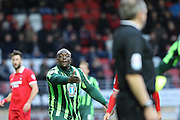 Bayo Akinfenwa of AFC Wimbledon disputes the linesman decision during Sky Bet League 2 match between Leyton Orient and AFC Wimbledon at the Matchroom Stadium, London, England on 28 November 2015. Photo by Stuart Butcher.