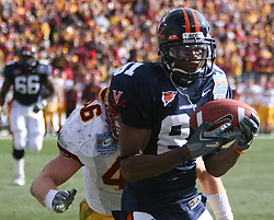 Virginia wide receiver Deyon Williams (81) makes a reception.  The Virginia Cavaliers defeated the Minnesota Golden Gophers 34-31 at the Music City Bowl in Nashville, TN on December 30, 2005.
