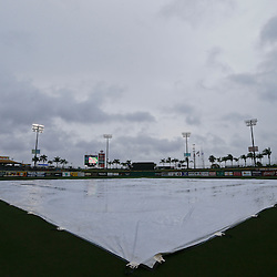 Feb 26, 2013; Clearwater, FL, USA; A general view of rain before a spring training game between the New York Yankees and the Philadelphia Phillies at Bright House Field. Mandatory Credit: Derick E. Hingle-USA TODAY Sports