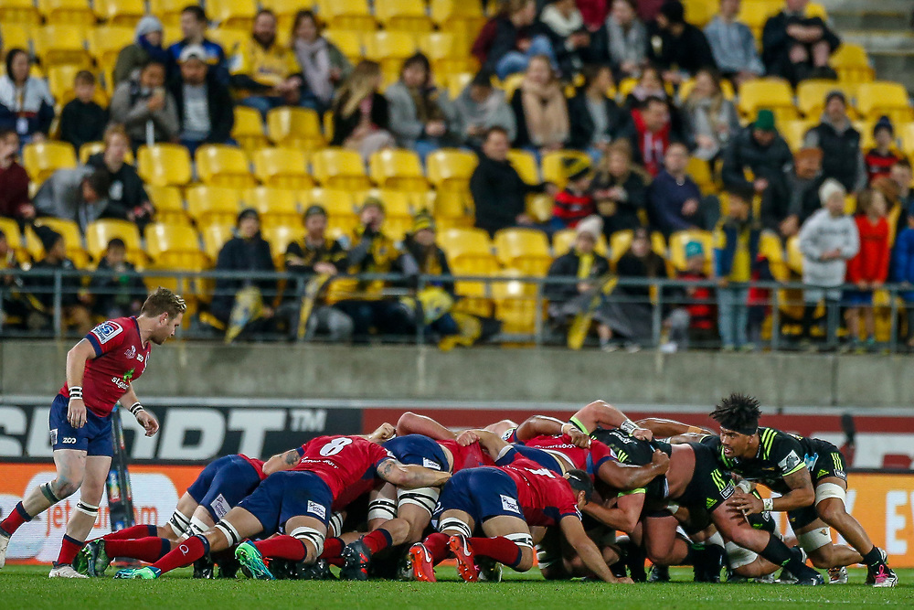 Scrum during the Super rugby union game (Round 14) played between Hurricanes v Reds, on 18 May 2018, at Westpac Stadium, Wellington, New  Zealand.    Hurricanes won 38-34.