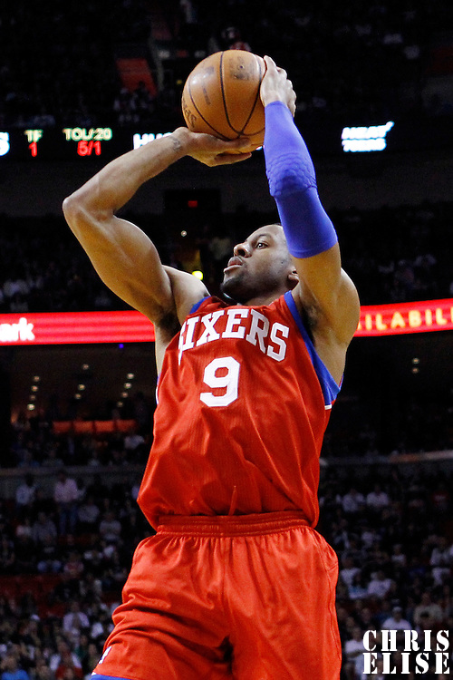 21 January 2012: Philadelphia Sixers small forward Andre Iguodala (9) takes a jumpshot during the Miami Heat 113-92 victory over the Philadelphia Sixers at the AmericanAirlines Arena, Miami, Florida, USA.