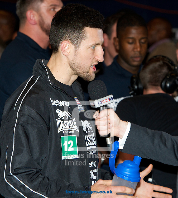 Pictures showing Carl Froch after the Froch v Groves Weigh In at Wembley Arena, London<br /> Picture by Alan Stanford/Focus Images Ltd +44 7915 056117<br /> 30/05/2014