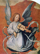 Angel playing a stringed instrument with a bow  (viola da braccio?).  'The Virgin in Glory' (detail), 1524.  Jan Provost (1465-1529) Netherlandish artist. Oil on canvas. Music Musician Wings Northern Renaissance