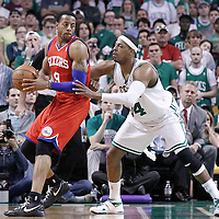 12 May 2012: Boston Celtics small forward Paul Pierce (34) defends on Philadelphia Sixers small forward Andre Iguodala (9) during the Boston Celtics 92-91 victory over the Philadelphia Sixers, in Game 1 of the Eastern Conference semifinals playoff series, at the TD Banknorth Garden, Boston, Massachusetts, USA.
