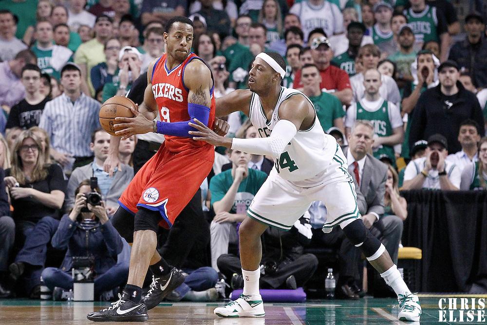 12 May 2012: Boston Celtics small forward Paul Pierce (34) defends on Philadelphia Sixers small forward Andre Iguodala (9) during the Boston Celtics 92-91 victory over the Philadelphia Sixers, in Game 1 of the Eastern Conference semifinals playoff series, at the TD Banknorth Garden, Boston, Massachusetts, USA.