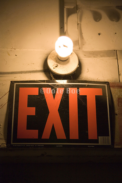 exit sign with burning energy saving light bulb above it