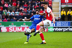 Kieffer Moore of Rotherham United shoots and scores against Gillingham - Mandatory by-line: Ryan Crockett/JMP - 28/10/2017 - FOOTBALL - Aesseal New York Stadium - Rotherham, England - Rotherham United v Gillingham - Sky Bet League One