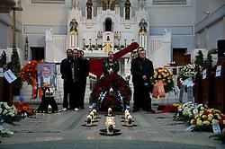 01.04.2011, Zentralfriedhof, Wien, AUT, Chronik, Begraebnis Kurt Hauenstein alias Supermax, im Bild Sarg in Aufbahrungshalle und Band, EXPA Pictures © 2011, PhotoCredit: EXPA/ S. Trimmel