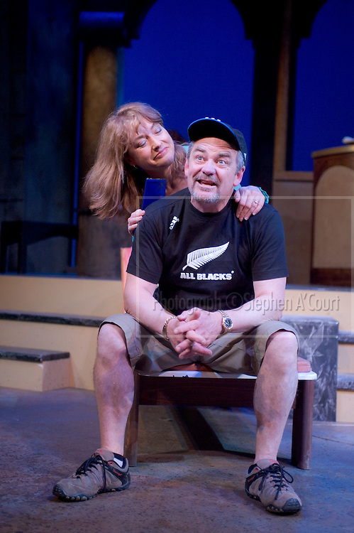 Production photographs of the play Four Flat Whites in Italy, at Circa Theatre, Wellington, 3 Sept - 7 Oct 2011. Written by Roger Hall, directed by Ross Jolly.  http://www.circa.co.nz/