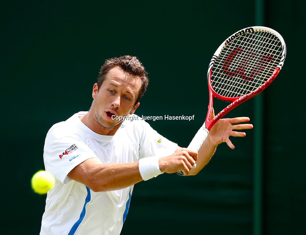 Wimbledon Championships 2013, AELTC,London,<br /> ITF Grand Slam Tennis Tournament,Philipp Kohlschreiber(GER),Aktion,Einzelbild,Halbkoerper,Querformat,