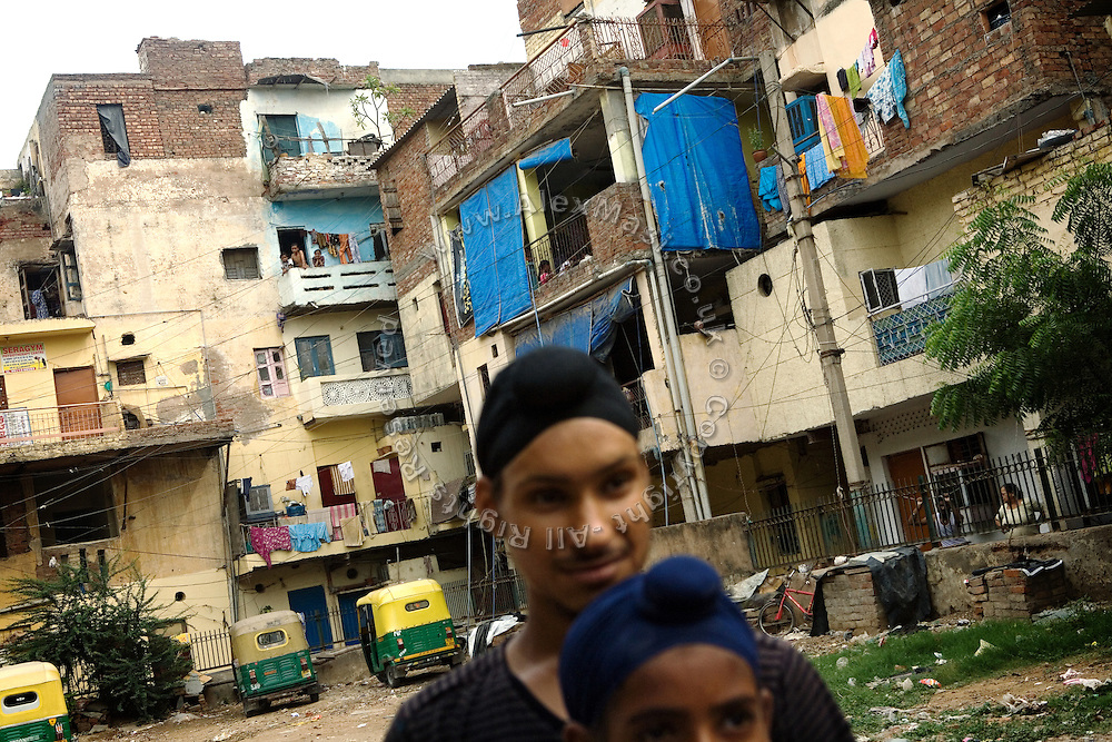 A view of Tilak Vihar, also known as the 'Widows' Colony', in New Delhi, India. Many of the women living here have become widowed during the anti-Sikh riots erupted in New Delhi in 1984 in the light of Indira Gandhi's assassination by her Sikh bodyguards.