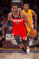22 March 2013: Guard (2) John Wall of the Washington Wizards dribbles the ball up the court against the Los Angeles Lakers during the first half of the Wizards 103-100 victory over the Lakers at the STAPLES Center in Los Angeles, CA.