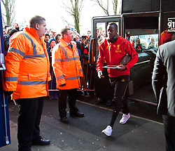 WEST BROMWICH, ENGLAND - Sunday, February 2, 2014: Liverpool's Aly Cissokho steps off the team coach as the squad arrive at The Hawthorns ahead of the Premiership match against West Bromwich Albion at the Hawthorns. (Pic by David Rawcliffe/Propaganda)