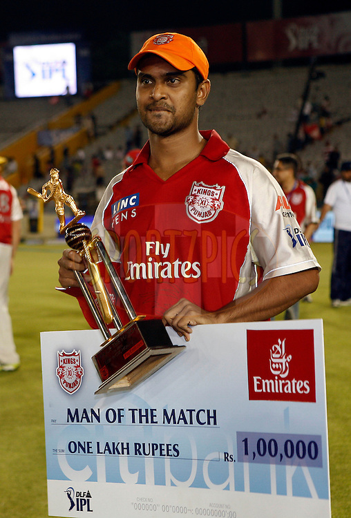 Paul Valthaty receives man of the match award after during match 9 of the Indian Premier League ( IPL ) Season 4 between the Kings XI Punjab and the Chennai Super Kings held at the PCA stadium in Mohali, Chandigarh, India on the 13th April 2011..Photo by Money Sharma/BCCI/SPORTZPICS