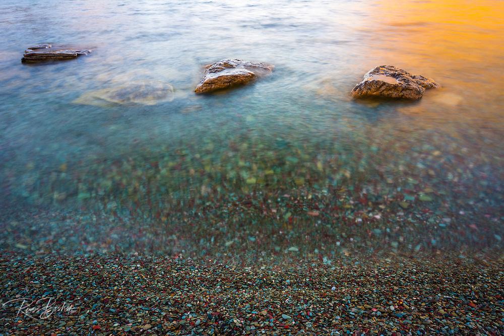 Shore detail, St. Mary Lake, Glacier National Park, Montana USA
