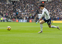 Football - 2017 / 2018 Premier League - Tottenham Hotspur vs. Arsenal<br /> <br /> Heung-Min Son (Tottenham FC)  races into the penalty area as he attacks the Arsenal goal at Wembley Stadium.<br /> <br /> COLORSPORT/DANIEL BEARHAM