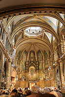 Inside the Basilica of the Montserrat monastery on the outskirts of Barcelona, Spain