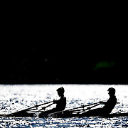 Students row a double scull in Deep Cove in Vancouver, B.C., on May 19, 2015.