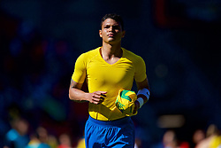 LIVERPOOL, ENGLAND - Sunday, June 3, 2018: Brazil's Thiago Silva takes off his shirt to give to a supporter during an international friendly between Brazil and Croatia at Anfield. (Pic by David Rawcliffe/Propaganda)