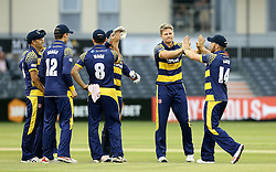 Timm Van Der Gugten of Glamorgan celebrates with his teammates after taking the wicket of Michael Klinger of Gloucestershire - Mandatory by-line: Robbie Stephenson/JMP - 10/06/2016 - CRICKET - Brightside Ground - Bristol, United Kingdom - Gloucestershire v Glamorgan - NatWest T20 Blast