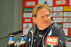 25.01.2014, easyCredit Stadion, Nuernberg, GER, 1. FBL, 1. FC Nuernberg vs TSG 1899 Hoffenheim, 18. Runde, im Bild Trainer Markus Gisdol (1899 Hoffenheim) hat nach der Niederlage gegen den 1 FC Nuernberg seinen Humor nicht verloren, kann bei der Pressekonferenz nach dem Spiel bereits wieder lachen, Portrait / Portraet // during the German Bundesliga 18th round match between 1. FC Nuernberg and TSG 1899 Hoffenheim at the easyCredit Stadion in Nuernberg, Germany on 2014/01/25. EXPA Pictures &copy; 2014, PhotoCredit: EXPA/ Eibner-Pressefoto/ Merz<br /> <br /> *****ATTENTION - OUT of GER*****