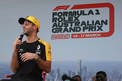 March 16, 2019 - DANIEL RICCIARDO attending the F1 Driver Q&A Panel on Qualifying Saturday at the 2019 Formula 1 Australian Grand Prix on March 16, 2019 In Melbourne, Australia  (Credit Image: © Christopher Khoury/Australian Press Agency via ZUMA  Wire)