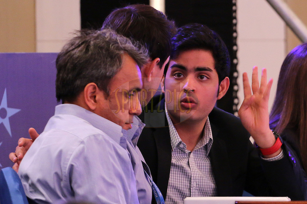 Akash Ambani during the IPL Auction prior to season 8 of the Indian Premier League held at the ITC Gardenia Hotel in Bengaluru, Karnataka, India on the 16th February 2015<br /> <br /> Photo by Ron Gaunt / SPORTZPICS / IPL