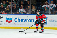 KELOWNA, BC - NOVEMBER 6:  Pavel Novak #11 of the Kelowna Rockets skates with the puck against the Victoria Royals at Prospera Place on November 6, 2019 in Kelowna, Canada. (Photo by Marissa Baecker/Shoot the Breeze)