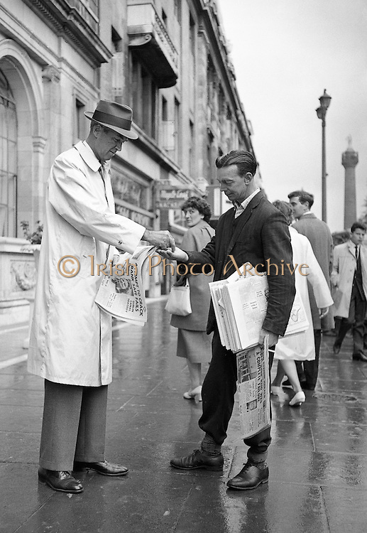 It was just another paper sold for Joe Treacy until he looked up at the customer; James Stewart on O'Connell Street, Dublin..01.08.1962