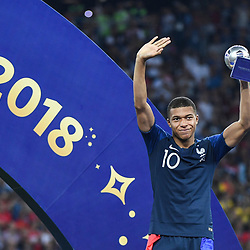 Kylian Mbappe of France celebrates during the World Cup Final match between France and Croatia at Luzhniki Stadium on July 15, 2018 in Moscow, Russia. (Photo by Anthony Dibon/Icon Sport)