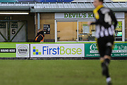 First Base ad board during the EFL Sky Bet League 2 match between Forest Green Rovers and Notts County at the New Lawn, Forest Green, United Kingdom on 9 February 2019.